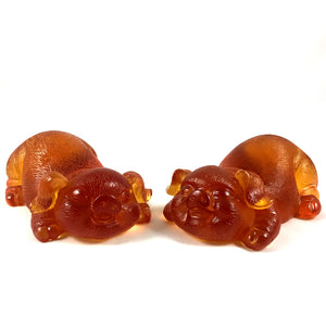 Amore Jewell Liuli Crystal Glass - Happiness Pig pair ~ 2pcs/set ~ 福豬對