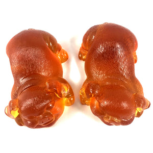 Liuli Crystal Glass - Happiness Pig pair ~ 2pcs/set