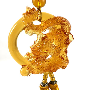 Amore Jewell Liuli Crystal Glass - Auspicious Dragon with  ball for car hanging ornament