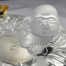 "Load image into Gallery viewer, Amore Jewell Liuli Crystal Glass - Laughing Buddha Statues With Pocket ""Maitreya Buddha""  in White color ~ 黃金袋彌勒"
