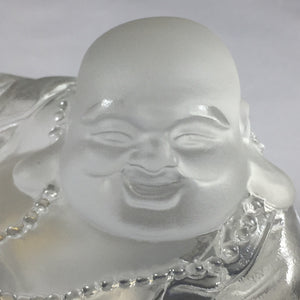 "Amore Jewell Liuli Crystal Glass - Laughing Buddha Statues With Pocket ""Maitreya Buddha""  in White color ~ 黃金袋彌勒"