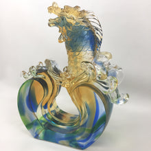 "Load image into Gallery viewer, Amore Jewell Liuli Crystal Glass - Standing On the top ""Dragon Fish"" ~ 獨占鰲頭"