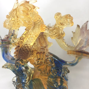 "Liuli Crystal Glass - Business blooming as ""Dragon"" -- 生意興隆(龍)"