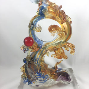 "Amore Jewell Liuli Crystal Glass - Great lucks always come ""Goldfish with red crystal ball"" ~ 鴻運連連發"