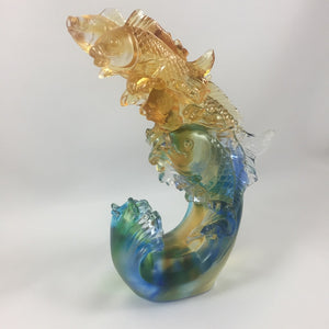 "Amore Jewell Liuli Crystal Glass - Stepping up  Fish - ""Bu Bu Kao Sheng"" ~ 步步高升魚"