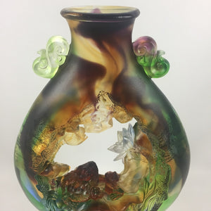 "Amore Jewell Liuli Crystal Glass - Peaceful & Wealth gathering ""Golden Toad and Lotus"" ~ 平安聚財"