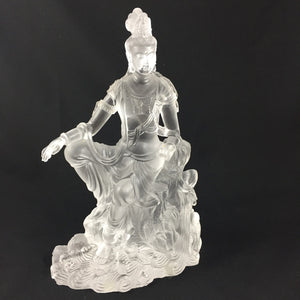 Amore Jewell Liuli Crystal Glass - Guanyin statue (Guan Yin buddha) in white color ~ Zi Zai Guanyin ~ 自在觀音