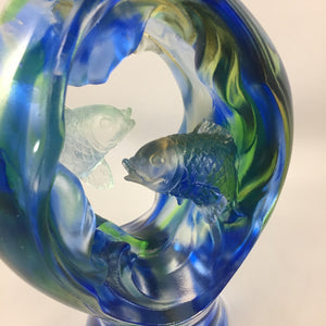 "Liuli Crystal Glass - Safe and sound fish in the bottle ""Ping An You Yu"""