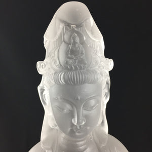 Amore Jewell Liuli Crystal Glass - Guanyin statue (Guan Yin buddha) in white color ~ Jin Pin Guanyin ~ 淨瓶觀音