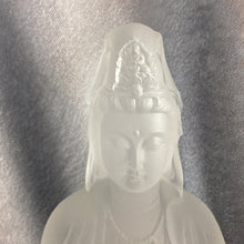 Load image into Gallery viewer, Guanyin statue sitting on the Lotus (Guan Yin buddha) in white color ~ Zuo Lian Guanyin