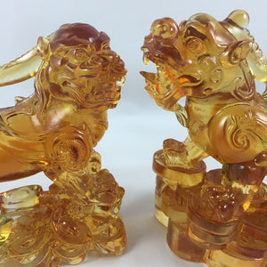 "Liuli Crystal Glass - Good Luck Brave Troops ""Pixiu"" 2pcs/set"
