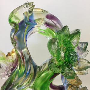 "Amore Jewell Liuli Crystal Glass - Lotus and Frog ""Peace & Perfect"" ~ 和和美美"