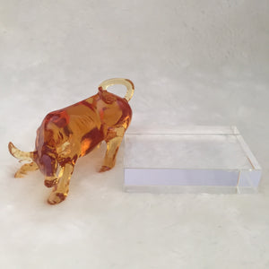 Amore Jewell Liuli Crystal  Glass - Pioneer Ox with Base ~ 開拓牛(底座)