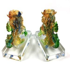 Amore Jewell Liuli Crystal Glass - Lucky Blessing Kirin Pair ~ 聚財麒麟對