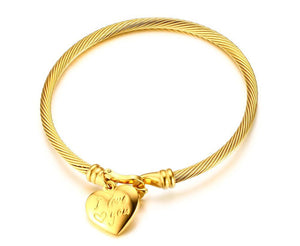"Bracelet - Elegant bracelet  ""Heart shape with I Love you "" design in gold color"