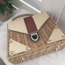 Load image into Gallery viewer, Fashion Ladies' bag - Elegant Handmade Woven PU Leather Clutch  Crossbody Purse  in Dark Brown Color