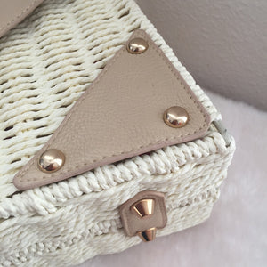 Fashion Ladies' bag - Elegant Handmade Woven PU Leather Clutch  Crossbody Purse  in White Color