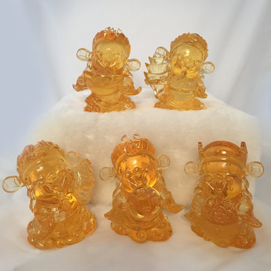 Amore Jewell Liuli Crystal Glass - Gods (Fortune) of Five-Way Wealth in amber color 5pcs/set - 五路財神