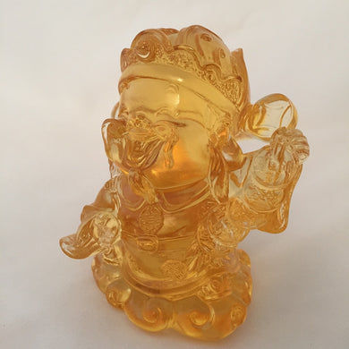 Amore Jewell Liuli Crystal Glass - Strings of Ancient coins - Gods (Fortune) of Five-Way Wealth in amber color - 五路財神-古錢串