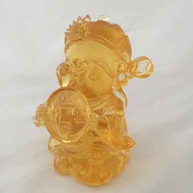 Amore Jewell Liuli Crystal Glass - Large Ancient Coin - Gods (Fortune) of Five-Way Wealth in amber color - 五路財神-錢幣