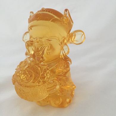 Amore Jewell Liuli Crystal Glass - Treasure Bowl God - Gods (Fortune) of Five-Way Wealth in amber color - 五路財神-聚寶盆