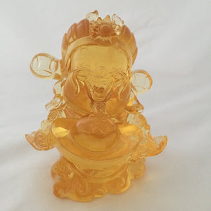 Amore Jewell Liuli Crystal Glass - Ingot God - Gods (Fortune) of Five-Way Wealth in amber color - 五路財神-元寶