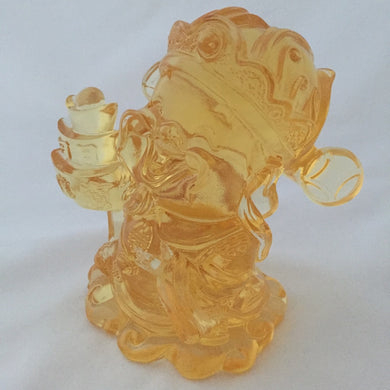 Amore Jewell Liuli Crystal Glass - Three-Ingots God - Gods (Fortune) of Five-Way Wealth in amber color - 五路財神-三元寶