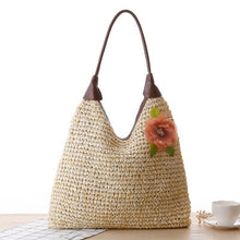 Load image into Gallery viewer, Fashion Ladies' bag - Ladies  casual tote woven straw single shoulder bag in Light Brown color