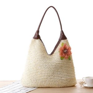 Fashion Ladies' bag - Ladies  casual tote woven straw single shoulder bag in Light Brown color