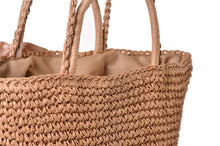 Load image into Gallery viewer, Fashion Ladies' bag - New Style Handmade tote woven straw bag handbag in Gray Color