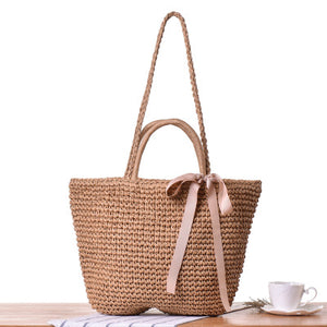 Fashion Ladies' bag - New Style Handmade tote woven straw bag handbag in Gray Color
