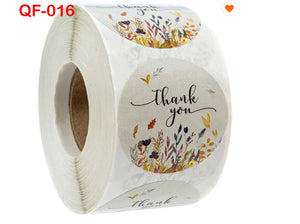 "Amore Jewell 1"" (500PCS/roll) THANK YOU Printing Adhesive Floral Roll Vinyl Waterproof Gift Label Sticker Cards Envelopes Seal 40 designs for selection"