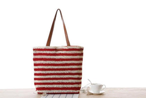 Fashion Ladies' bag - New Style Handmade Stripe Weaving straw Bag in Red color