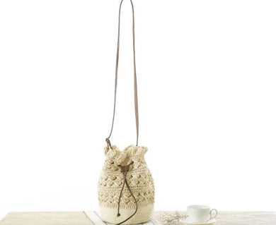 Fashion Ladies' bag - New style hollow out woven ladies single shoulder handbag in White color
