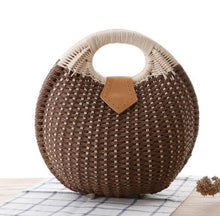 Load image into Gallery viewer, Fashion Ladies' bag - High quality casual tote weaving natural rattan handbag in Dark Brown
