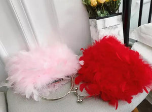 Fashion Ladies' bag - Elegant Soft Feather Clutch Evening bag Purse with 4 colors