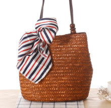 Load image into Gallery viewer, Fashion Ladies' bag - New Style Handmade Woven Straw Bag with Leather Handle in Dark Brown Color