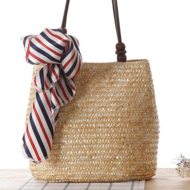 Fashion Ladies' bag - New Style Handmade Woven Straw Bag with Leather Handle in Light Brown Color