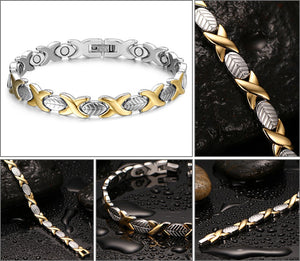 Bracelet - Elegant Leaf design in gold color  Magnetic Therapy Bracelet