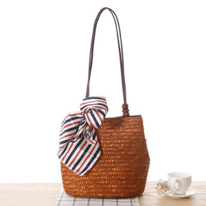 Fashion Ladies' bag - New Style Handmade Woven Straw Bag with Leather Handle in Army Green Color
