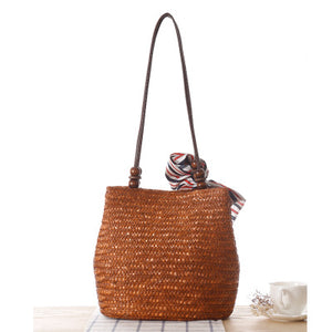 Fashion Ladies' bag - New Style Handmade Woven Straw Bag with Leather Handle in Dark Brown Color