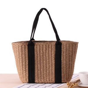 Fashion Ladies' bag - Large capacity straw rattan tote bags in Brown color