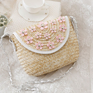 Fashion Ladies' bag - New style mini Woven ladies single crossbody handbag in White flower