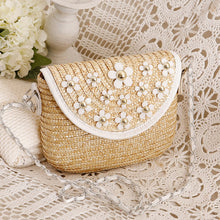 Load image into Gallery viewer, Fashion Ladies' bag - New style mini Woven ladies single crossbody handbag in White flower