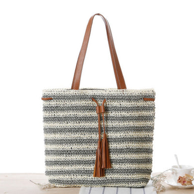 Fashion Ladies' bag - New Style Handmade Stripe Weaving straw Bag in Green color