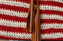 Load image into Gallery viewer, Fashion Ladies' bag - New Style Handmade Stripe Weaving straw Bag in Red color