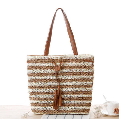 Fashion Ladies' bag - New Style Handmade Stripe Weaving straw Bag in Light Brown color
