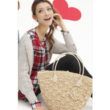 Load image into Gallery viewer, Fashion Ladies' bag - Elegant Ladies Weaving Tote straw Handmade Bag in White Color