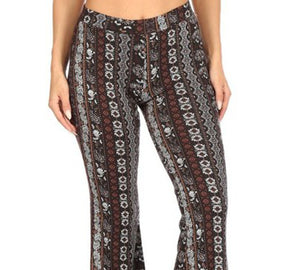 Amore Jewell Fashion Ladies' Pants - Soft Brushed PAISLEY BOHO Print Flare Pants