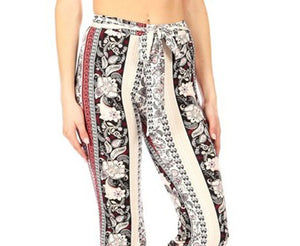Amore Jewell Fashion Ladies' Pants - Soft Printed Brushed Flare Pants With Waist Tie
